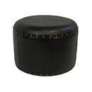 International Caravan Mini Round Faux Leather Stool
