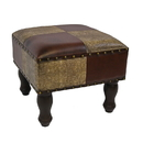 International Caravan YWLF-2529-MX Faux Leather 16-Inch Square Stool, Mixed Patch Work