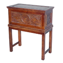 International Caravan Windsor Carved Wood  Trunk on Stand