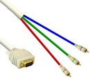 IEC M5329-50 DH15 Male (VGA) to 3 RCA Male Cable 50'
