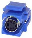 IEC RMD04-BU S Video ( SVHS ) Mini Din 4 Female to Female Flush Mount Keystone Connector Blue