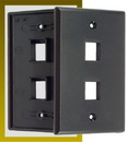 IEC WB10802 Black Plastic Wall Plate with 2 Cutout for a Keystone Insert