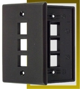 IEC WB10803 Black Plastic Wall Plate with 3 Cutout for a Keystone Insert