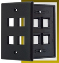IEC WB10804 Black Plastic Wall Plate with 4 Cutout for a Keystone Insert