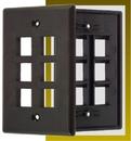 IEC WB10806 Black Plastic Wall Plate with 6 Cutout for a Keystone Insert
