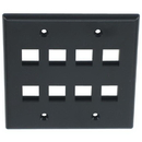 IEC WB20808 Black Plastic Two Gang Wall Plate with 8 Cutouts for Keystone Inserts