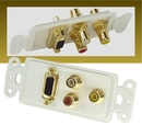 IEC WDH721661 White Decora Insert with One VGA and Three RCAs (Red - White - Yellow)
