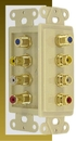 IEC WDZ721611 Ivory Decora Insert with Three RCAs (Red - White - Yellow) and one F100