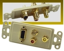 IEC WDZ721661 Ivory Decora Insert with One VGA and Three RCAs (Red - White - Yellow)