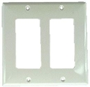 IEC WH20002 White Plastic Two Gang Wall Plate with 2 Decora Cutouts