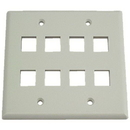 IEC WH20808 White Plastic Two Gang Wall Plate with 8 Cutouts for Keystone Inserts