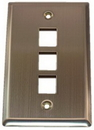 IEC WS10803 Stainless Steel Wall Plate with 3 Cutout for a Keystone Inserts