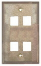 IEC WS10804 Stainless Steel Wall Plate with 4 Cutout for a Keystone Inserts