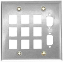 IEC WS21811 Stainless Steel Wall Plate Multimedia 2 Gang (9 Keystone + 2 VGA (DB09/DH15) cutouts)