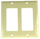 IEC WZ20002 Ivory Plastic Two Gang Wall Plate with 2 Decora style Cutouts