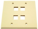 IEC WZ20804 Ivory Plastic Two Gang Wall Plate with 4 Cutouts for Keystone Inserts