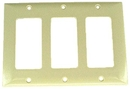 IEC WZ30003 Ivory Plastic Three Gang Wall Plate with 3 Decora style Cutouts