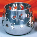 India Overseas Trading AL 2108 Aluminum votive with Cutout Shapes