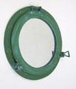 India Overseas Trading AL 48610A Antique Green Aluminum Porthole with Mirror, 17