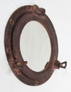India Overseas Trading AL 4870K Red Brown Aluminum Porthole with Mirror, 12