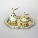 India Overseas Trading BR 10921 Brass Apple and Pear on Tray, MOP