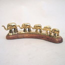 India Overseas Trading BR12951 - Brass Elephant Caravan on Wooden Base