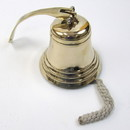 India Overseas Trading BR 18454 Gold Finish Brass Ship Bell with Rope, 6