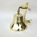 India Overseas Trading BR 1880 Gold Finish Brass Wall Anchor Ship Bell with Rope, 6.5