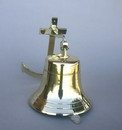 India Overseas Trading BR 1881 Gold Finish Brass Ship Bell with Rope, 11