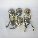 India Overseas Trading BR 2000 Mask Set of 6, Brass & Gold
