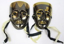 India Overseas Trading BR 2007B Brass Enamel Masks, Black and Gold, Pair