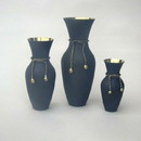 India Overseas Trading BR 2176D Brass Rope Vase Set 3, Black