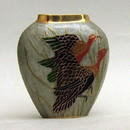 India Overseas Trading BR 2184 Brass Vase, Birds Enameled