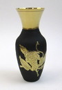 India Overseas Trading BR 21877 Solid Brass Vase Black With Flower Design