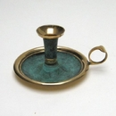 India Overseas Trading BR2251P - Solid Brass Candle Holder With Plate, Patina Finish