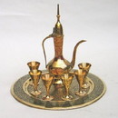 India Overseas Trading BR2350 Etched, Painted Brass Wine Set W/ Aftaba