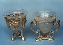 India Overseas Trading BR 2405 Grape Brass Stand Crackle Glass Container