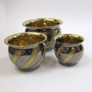 India Overseas Trading BR 40801 Solid Brass Nested Planter Set 3, Two Tone