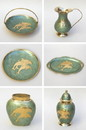 India Overseas Trading BR4424 - Painted Brass Gift Set, Cyan, Dolphins