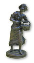 India Overseas Trading BRZ5004 - Girl With Basket Statue, Bronze