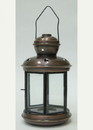 India Overseas Trading IR15310 - Iron Candle Lantern, Six-sided, Clear glass, Antique Finish