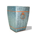 India Overseas Trading IR4240 Galvanized Accent Vaze -Silver With Copper Trims And Handle