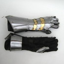 India Overseas Trading IR 8082D Medieval Gauntlet Pair Steel with Brass Accents