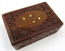 India Overseas Trading SH103 Carved Shisham Wood Box Inlay Design