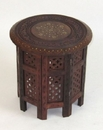 India Overseas Trading SH1203 - Carved Wooden Octagonal Table Brass Inlay