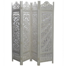 India Overseas Trading SH 227954W 4 Panel Floral Tree Room Divider , White Wash