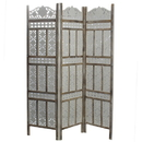 India Overseas Trading SH 305003W 3 Panel Traditional Room Divider , White Wash