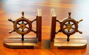 India Overseas Trading SH 48656 Bookend Pair Wooden Ship Wheel Brass Fitted
