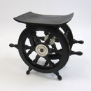 "India Overseas Trading SH8962A - Wooden Pirate Ship Wheel Table w/ Aluminum Hub, 16"""