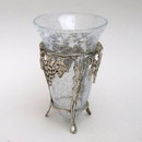 India Overseas Trading SP 2405 Brass Grape Stand With Crackle Glass Bowl